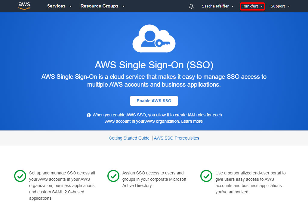 Enable AWS SSO