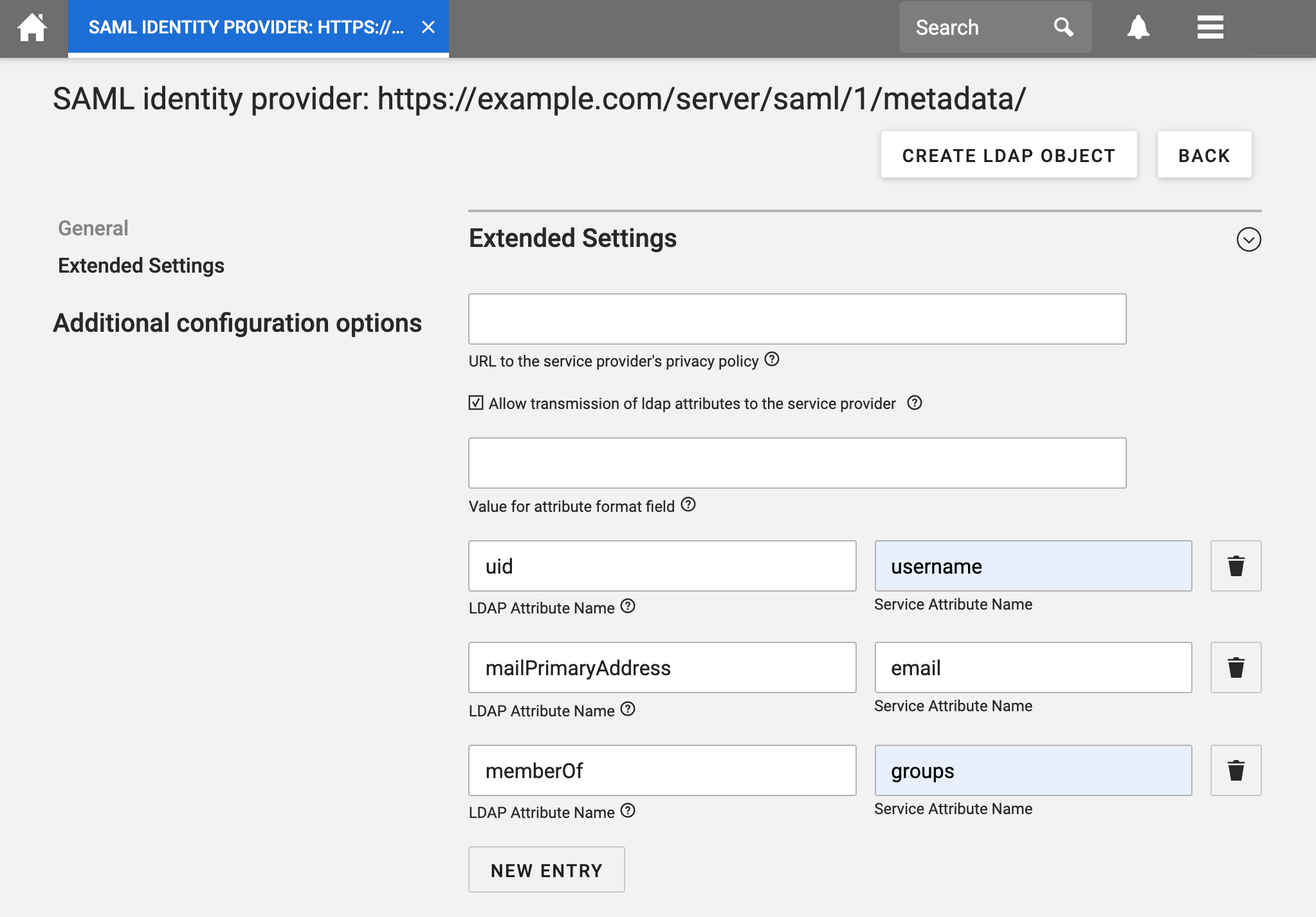 Switch to Extended Settings and fill out the LDAP mapping information