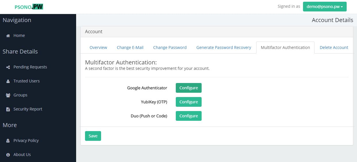 Step 4 click configure next to Google Authenticator