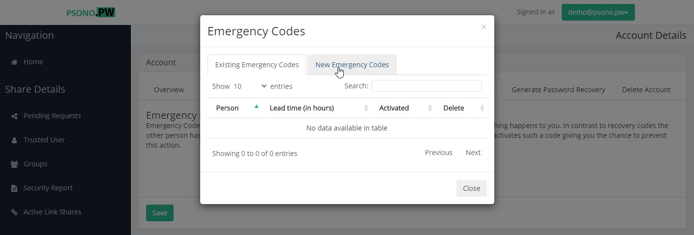 "Step 5 Go to the ""new Emergency Codes"" tab"