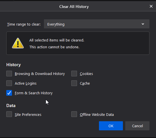 Firefox clear all history
